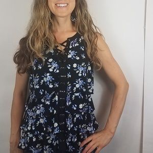Whbm black floral tiered laces tank size small